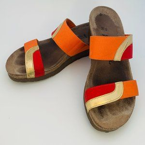 NAOT FRANKIE SANDAL RED, ORANGE AND GOLD SZ 5.5
